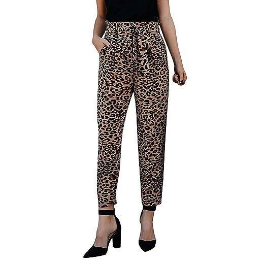 3f59ce5f36 GoodLock Hot!! Women's Fashion Elastic Waist Bandage Pants Ladies Casual  Sexy Leopard Print High