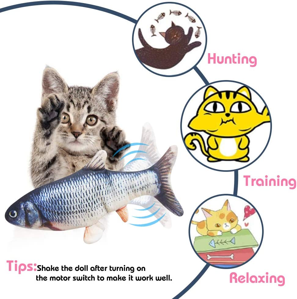 Giocattoli per Gatto per Gatto Kitty MMTX Catnip Giocattoli per Gatti Giocattolo Elettrici per Pesci,Catnip Giocattoli,Gioco Gatto interattivo USB Gatto,Simulazione Peluche di Pesce