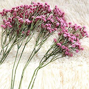 Fasclot Baby Breath Gypsophila Artificial Flowers, Babies Breath Flowers Bush Artificial Gypsophila Silk Silica Real Touch Blooms for Wedding Bridal Party Home Floral Arrangement Deco (Hot Pink) 5