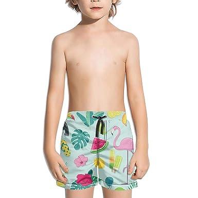 8fda79ca Amazon.com: Ouxioaz Boys' Swim Trunk Summer Beach Party with Flamingo Beach  Board Shorts: Clothing