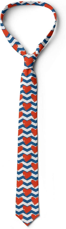 Ambesonne Necktie Valentines Day Theme Grunge Vermilion Blue and White 3.7