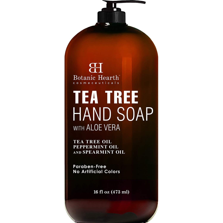 Botanic Hearth Tea Tree Liquid Hand Soap - Sulfate Free Formula - Multi Purpose Hand Wash with Aloe Vera and Therapeutic Grade Tea Tree Oil, Pump Dispenser - 16 fl oz