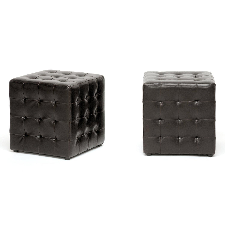 Amazon com siskal dark brown modern cube ottoman kitchen dining