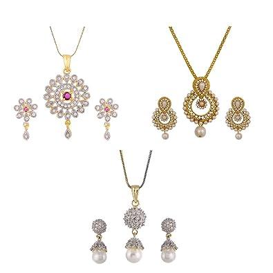 Buy Aabhu Gold Plated American Diamond Combo Of 3 Modern Pendant