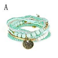 GreatFun 1 Set Fashion Stretch Acrylic Beaded Bohemian Lady Bracelet Bangle Women Pendant Bracelet (A)