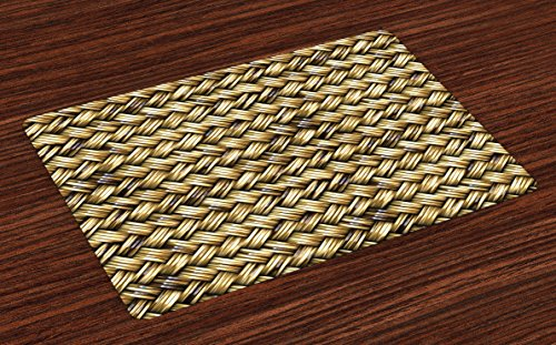 - Lunarable Abstract Place Mats Set of 4, Rattan Basket Weave Pattern Natural Boho Country Style Geometric Monochrome, Washable Fabric Placemats for Dining Room Kitchen Table Decor, Pale Coffee Brown
