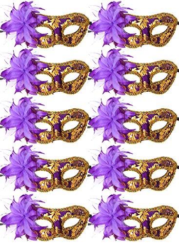10pcs Set Mardi Gras Half Masquerades Venetian Masks Costumes Party Accessory (purple-10pc) -