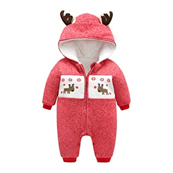 Anglewolf Infant Baby Boys Girls Winter Thicker Hooded Romper Jumpsuit Outfit Kid Clothes Pyjamas Kids Toddlers Newborn Girl Boy Christmas Deer Coral Fleece Dot Outfits