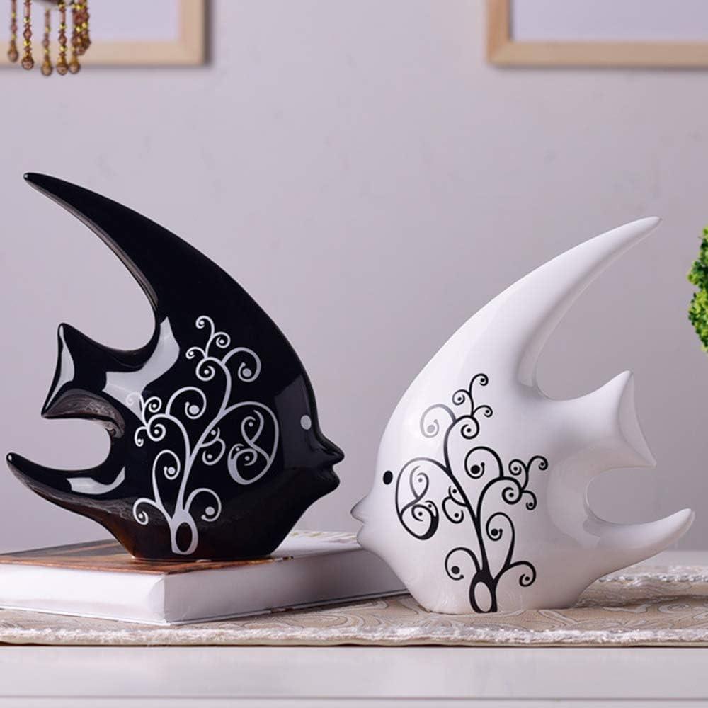 ASNOMY 2 Pack of Fish Figurines Originality Home Decoration Furnishing Animal Ornament Ceramics, Ceramic Statues Home Decor Ornament Figures(A Pair of Fish)