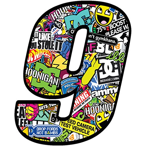 Racing Number  9 Sticker DC Bomb Decal N 209