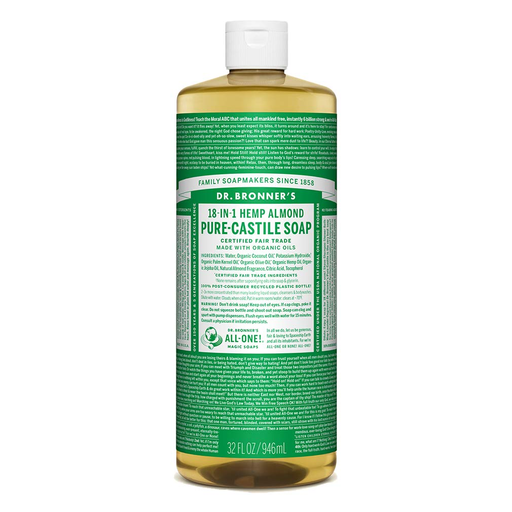 Dr. Bronner's - Pure-Castile Liquid Soap (Almond, 32 ounce) - Made with Organic Oils, 18-in-1 Uses: Face, Body, Hair, Laundry, Pets and Dishes, Concentrated, Vegan, Non-GMO