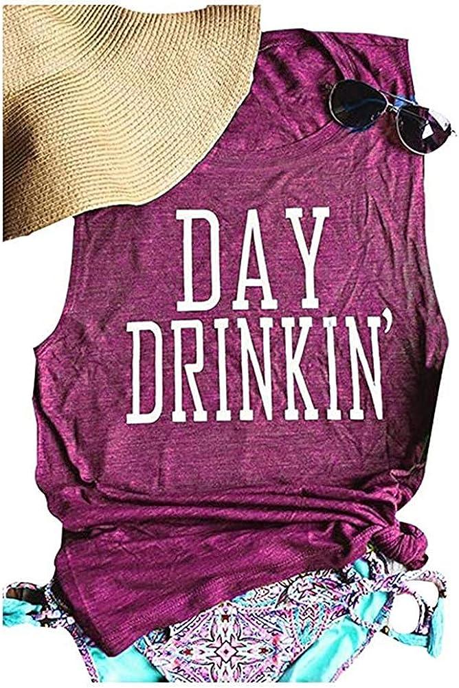 Eletina purple Short Sleeve Casual Tops Womens Day Drinkin Tank Tops Drinking Camis Shirts Funny Casual Shirt Tee