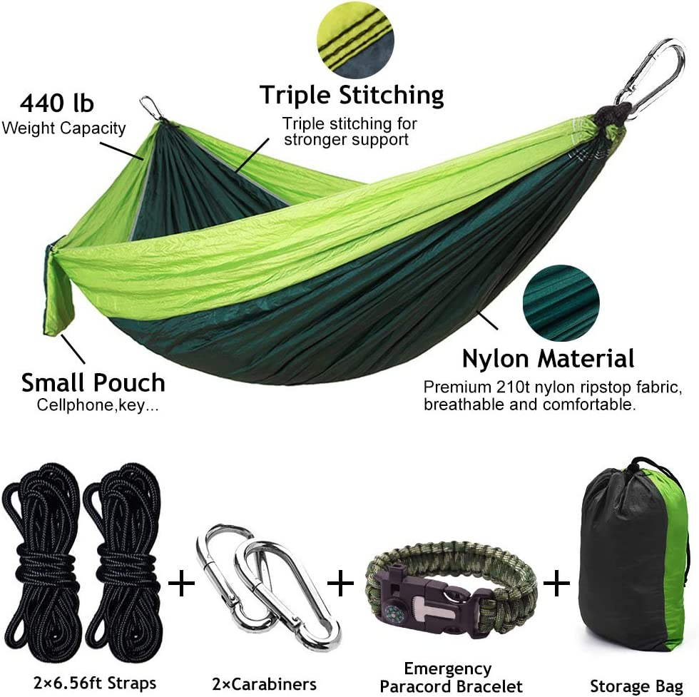 Beach Backyard Hiking GOHIGH Camping Hammock Double /& Single Portable Nylon Parachute Hammocks with Tree Straps Carabiners Gear for Indoor Outdoor Backpacking Travel Patio
