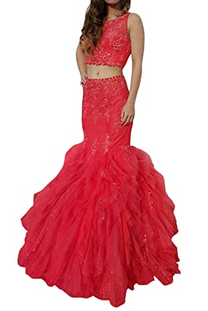 StayPretty Two Piece Mermaid dress for Women Prom dresses Red Evening Gowns