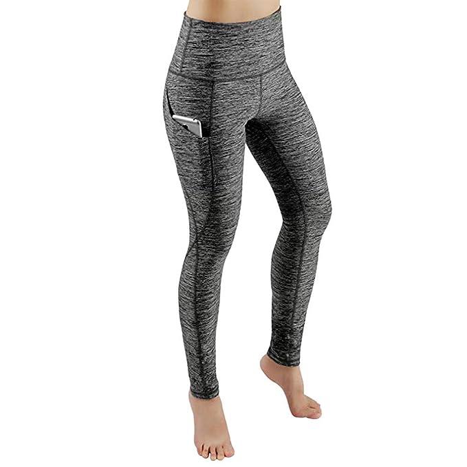 db1455089f311 Pantalones Multibolsillos Leggings Yoga Mujer Pantalones Deportivos Mujer  Largos Leggings para Running Deportes Color Sólido Pantalones Push Up Mujer  ...