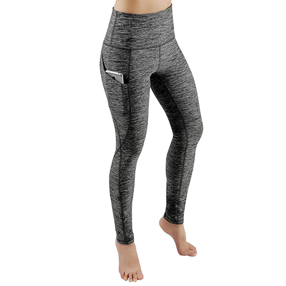 Pinleg WomenHigh Waist Yoga Athletic Pants, Workout Out Pocket Leggings Fitness Sports Gym Running Workout Tummy Control Pant (M, Gray)
