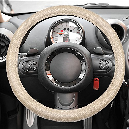 (cciyu Steering Wheel Cover Universal 15 Inch Polyester/Mesh Beige Car Steering Wheel Cover)