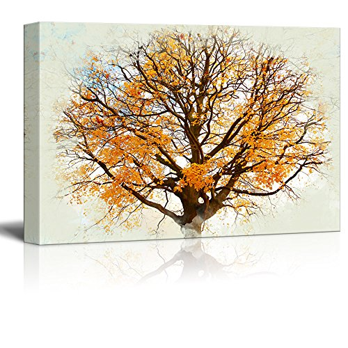 wall26 - Canvas Print Landscape Wall Art - Beautiful, Autumnal Maple Tree Against The Sky Background - Gallery Wrap Modern Home Decor | Ready to Hang -16x24 inches