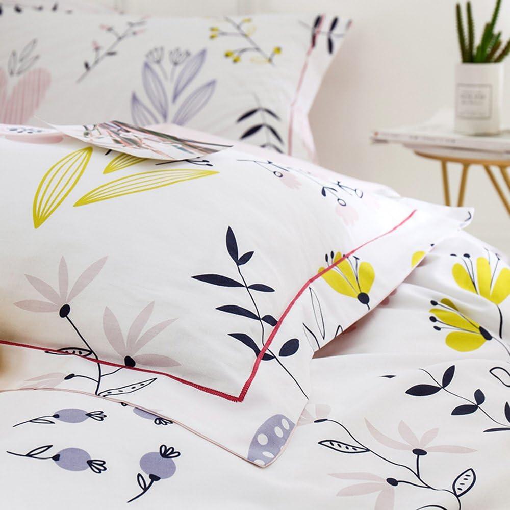 Standard Pillowcase, Floral-e HIGHBUY 100 Percent Cotton Floral Print Pillowcases Set 2pcs 20/×26 Kids Queen Decorative Pillow Cover,Set of 2,Standard,Envelope Closure