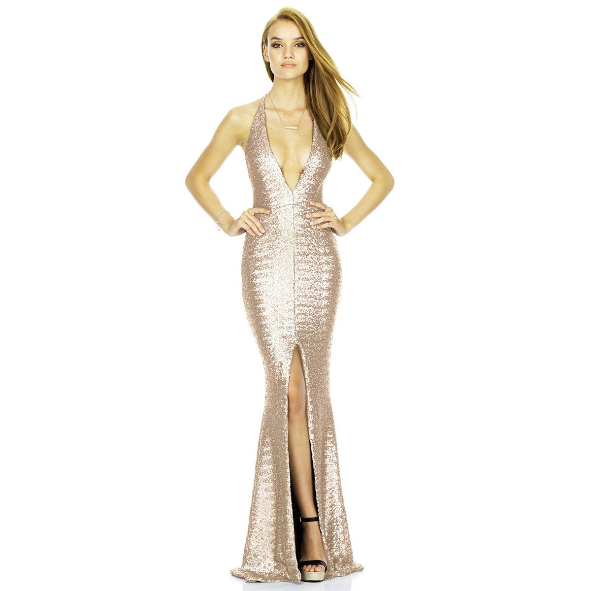 343a9878bc Women Sleeveless Deep V-Neck Sequin Split Bodycon Cocktail Party Maxi Dress  Mermaid Prom Gown Solid Tight Long Skirt - Beige -  Amazon.co.uk  Clothing