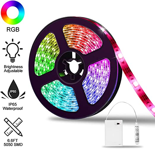 Audew Tira de luz LED 5050 con cambio de color a batería, IP65 a prueba de