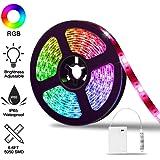 Striscia LED RGB di Batteria, AUDEW Strisce LED 2M TV Retroilluminazione 60 LED con Controller, Striscia RGB 5050 SMD Impermeabile IP65 per Decorazioni da Interno e Esterno