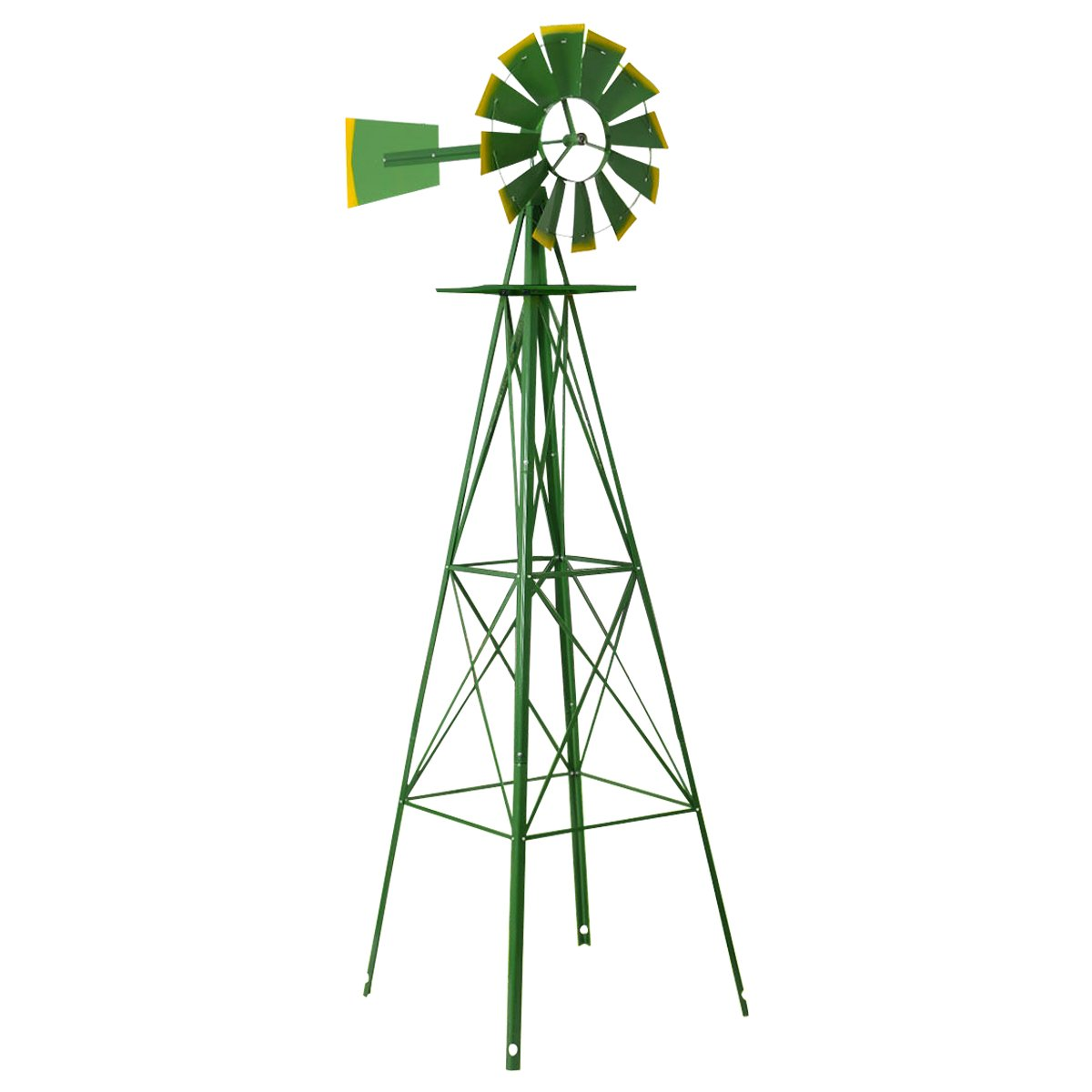 TANGKULA 8FT Windmill Yard Garden Metal Ornamental Wind Mill Weather Vane Weather Resistant (Green)
