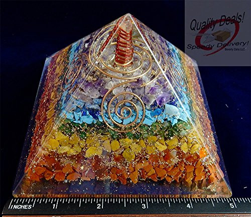 Charged Gemstone Orgone Pyramid – Certified Orgonite® Healing Crystals and Copper EXTRA LARGE Bio–Energy Enhancing Tool by Beverly Oaks (Large Lead Crystal)