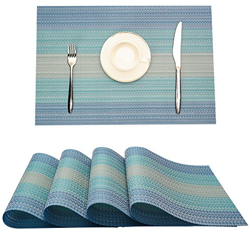 MrXLWhome Upgrade Placemats Set of 4. Washable Woven Vinyl Placemat for Dining Table. Heat Resistant blue placemats. Kitchen Table Mats (Blue)