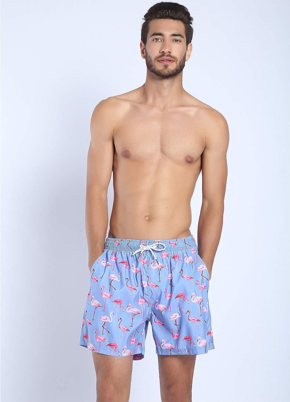 YuKaiChen Mens Quick Dry Swim Trunks Beach Shorts with Mesh Liner Pockets