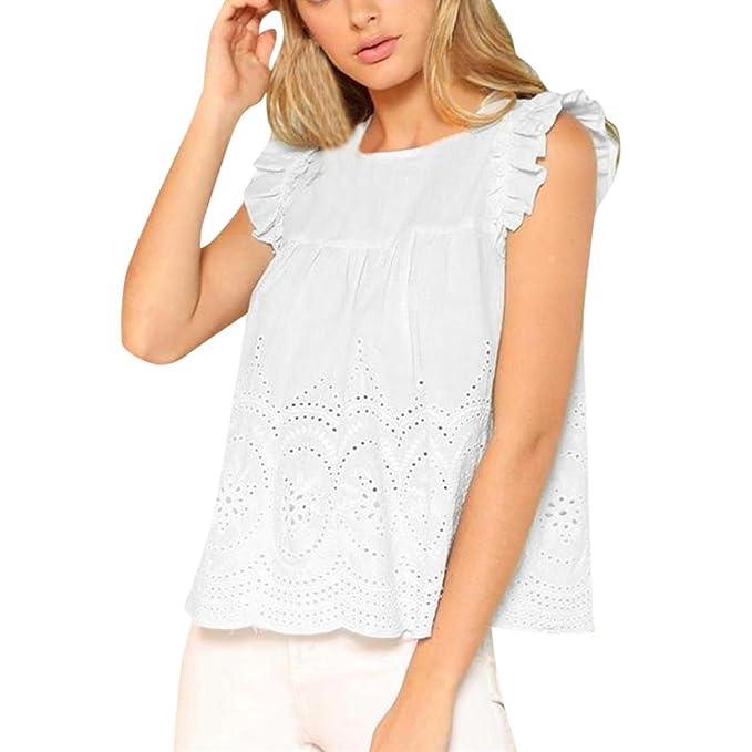 Sannysis Camisetas Mujer, Blusas Tops de Encaje Elegante con Cuello en O Sexy Camiseta de