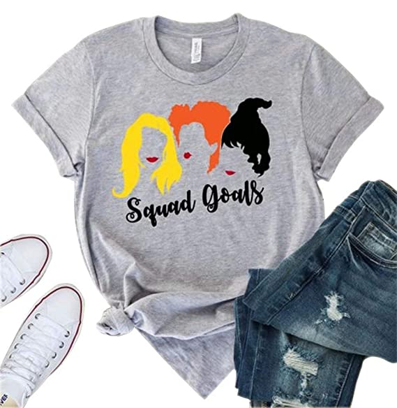 a831f637bb3 MNLYBABY Women Squad Goals Halloween Shirt Hocus Pocus Sanderson Sisters  Short Sleeve Unisex T-Shirt