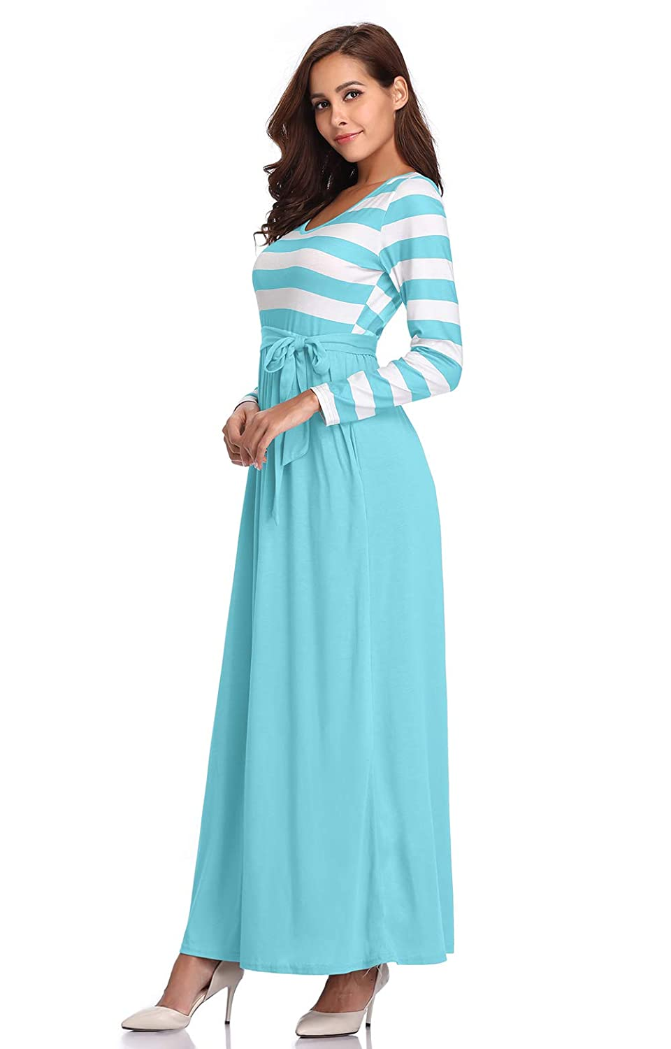 97d0bf7a580 MYSHOW Women s Long Sleeve Striped Patchwork Casual Tie Waist Maxi Dress  with Pockets at Amazon Women s Clothing store