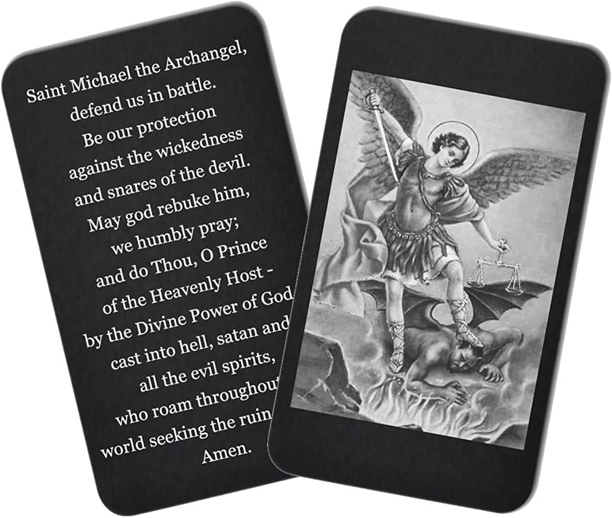 "Hat Shark Engraved Wallet Inserts -""St. Michael Prayer"" - Perfect Anniversary Gifts for Men or Women; Mini Prayer Note"