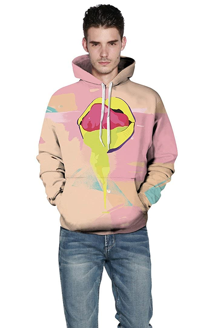 NLMS Autumn Winter Men//Women Hooded Hoodies with Cap Print Big Yellow Lips 3D Sweatshirts Hoody Tops Couple Tongue