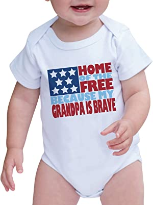 7 ate 9 Apparel Baby's Grandpa is Brave 4th of July Onepiece