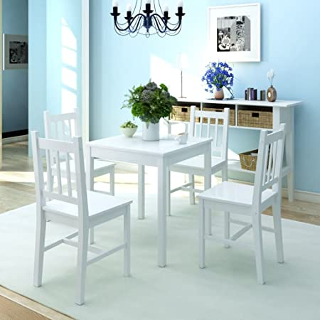 Fesjoy Juego de Comedor Mesa Puesta Mesa de Comedor y 4 sillas. Conjunto de Muebles de Exterior de Madera de Pino al Aire Libre Conjunto de sillas de jardín de Madera Blanco: