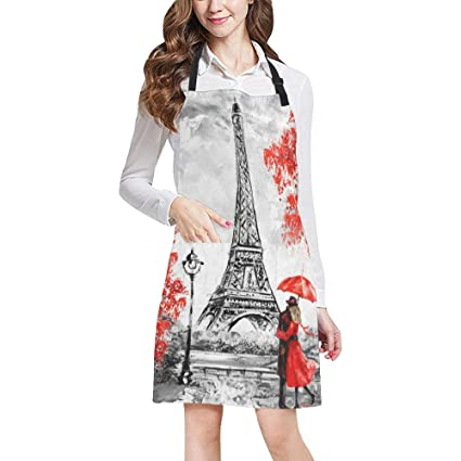InterestPrint Elegant Paris Eiffel Tower Couple Red Umbrella Trees All Over  Print Adjustable Bib Apron with 8664ef7d66