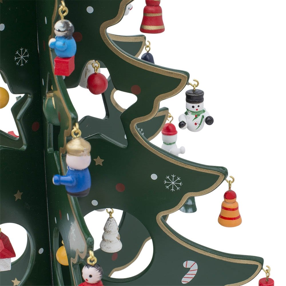 Tabletop ornament tree - Amazon Com 12 5 Wooden Tabletop Christmas Tree With Miniature Christmas Ornaments Home Kitchen
