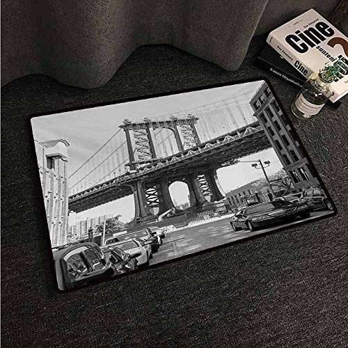 (HCCJLCKS Interesting Doormat Landscape Brooklyn New York USA Landmark Bridge Street with Cars Photo Easy to Clean Carpet W31 xL47 Black White and Charcoal Grey)