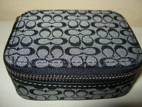 Coach Black & White Mini Signature Triple Pill Case Box with 3 Pill Bottles Style # 60157 (Pouchette Black)