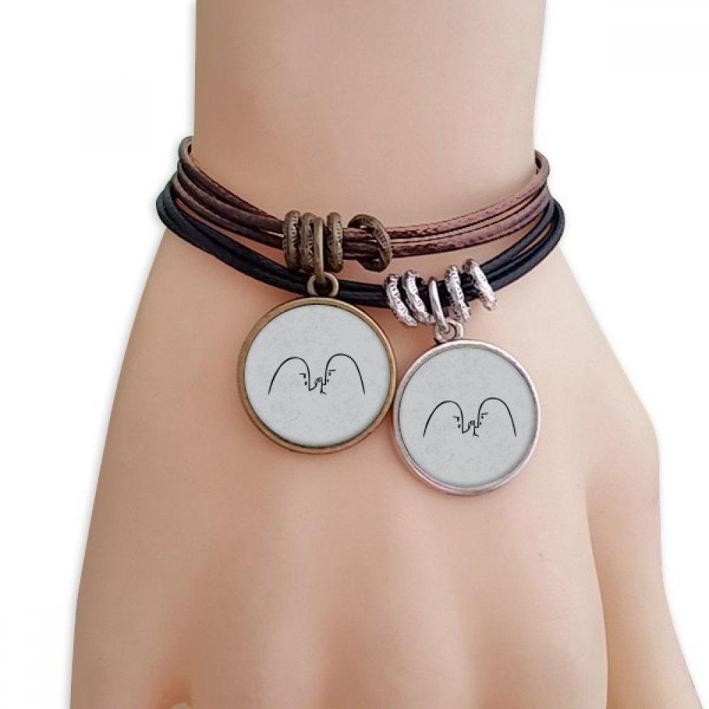 DIYthinker Wrist Wrestling Black Cute Chat Emoji Bracelet Double Leather Rope Wristband Couple Set