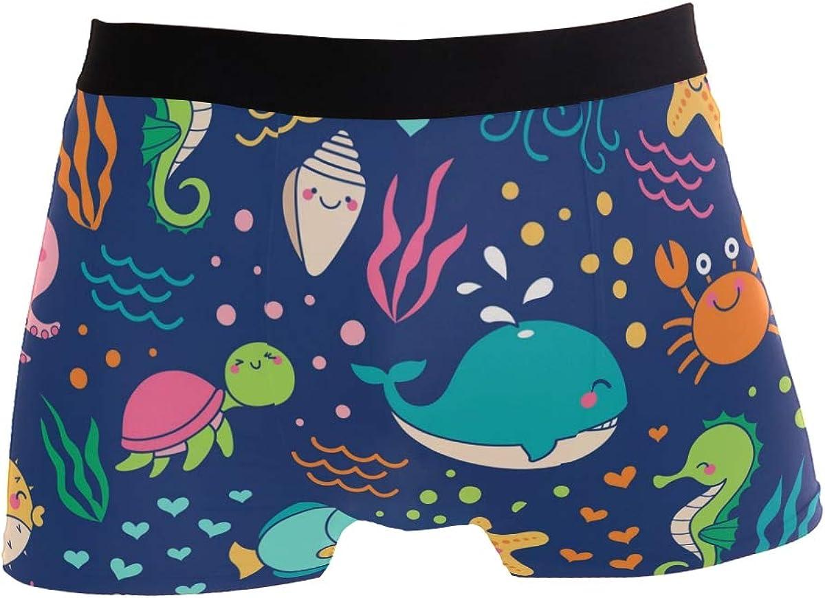 LEFEI Colorful Cute Sea Life Cartoon Men/'s Underwear Boxer Briefs Polyester Spandex Pouch,2-Pack