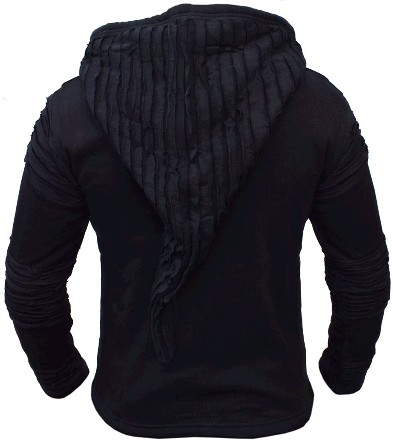 Little Kathmandu Men's Cotton Black Razor Cut Ripped Hoodie Jacket Winter X-Large