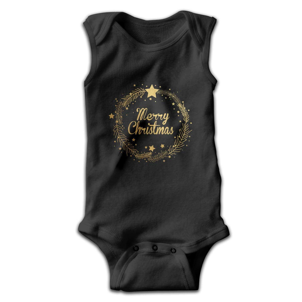 Infant Baby Boys Rompers Sleeveless Cotton Onesie,Merry Christmas Golden Wearth Bodysuit Spring Pajamas