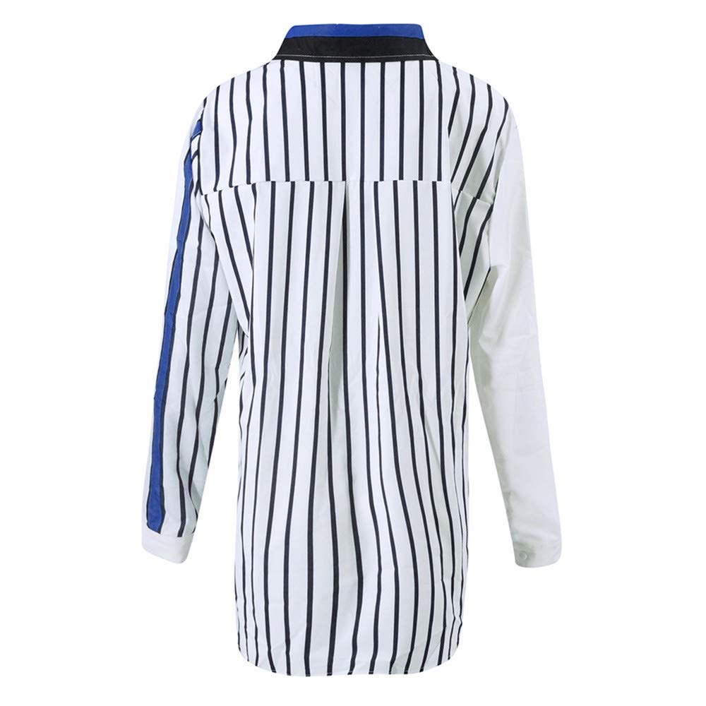 Blouses For Womens,Clearance Sale!!Farjing Womens Casual Long Sleeve Color Block Stripe Button T Shirts Tops Blouse (L, Multicolor 4) by Farjing (Image #5)