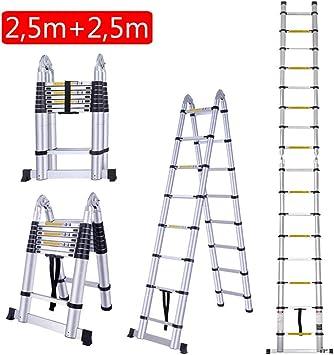 Miss Morgen Escalera Telescópica de Aluminio, 5 metros / 16,4FT Plegable Expandible Doméstico 16 Escalones Escalera de Doble Cara Multi-Función: Amazon.es: Bricolaje y herramientas