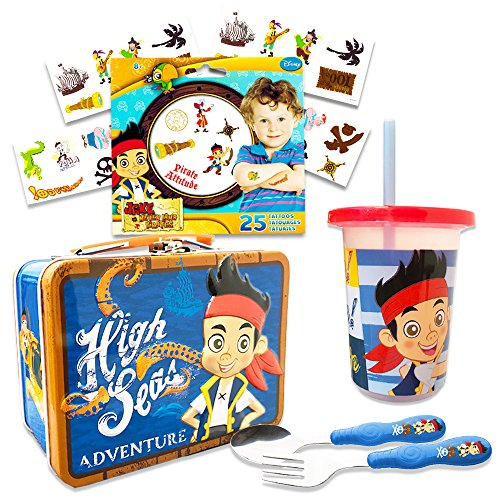 Jake and the Neverland Pirates Toddler Dinnerware Set - Flatware, Tumbler, Snack Tin, Temporary Tattoos (Disney Junior Dining -