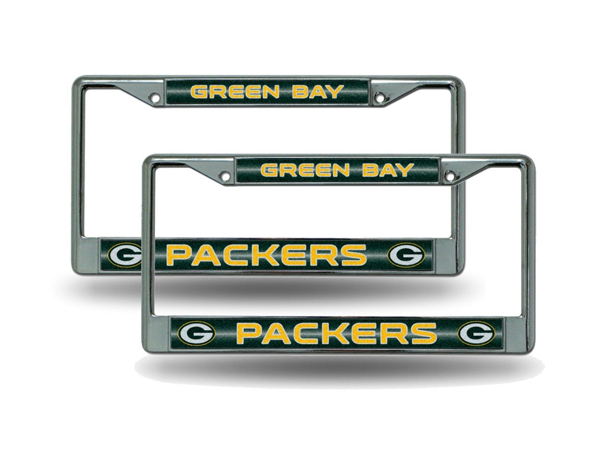 Rico Green Bay Packers Chrome Metal Bling License Plate Frame Set 2