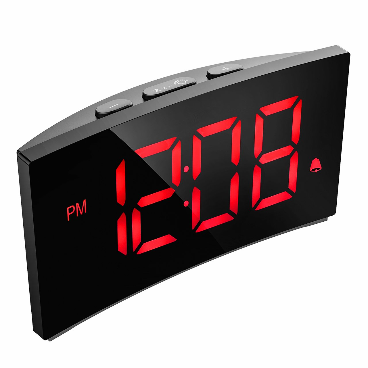 Alarm Clocks, PICTEK Digital Alarm Clock with 5-inch Dimmable LED Curved Screen, Kids Electronics Clock with Snooze Function, 12/24 Hour, USB Time Clock for Bedrooms Livingroom Office Desk (NO AC Adapter)